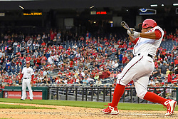 May 6, 2018 - Washington, DC, U.S. - WASHINGTON, DC - MAY 06:  Washington Nationals catcher Pedro Severino (29) breaks his bat pinch hitting in the ninth inning during the game between the Philadelphia Phillies  and the Washington Nationals on May 6, 2018, at Nationals Park, in Washington D.C.  The Washington Nationals defeated the Philadelphia Phillies, 5-4.  (Photo by Mark Goldman/Icon Sportswire) (Credit Image: © Mark Goldman/Icon SMI via ZUMA Press)