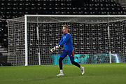 Sheffield Wednesday goalkeeper Cameron Dawson warming up during the EFL Sky Bet Championship match between Derby County and Sheffield Wednesday at the Pride Park, Derby, England on 11 December 2019.