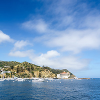 Catalina Island Casino with Avalon Harbor high resolution photo. Beautiful Santa Catalina Island is a popular travel destination off the Southern California coast. Copyright ⓒ 2017 Paul Velgos with All Rights Reserved.