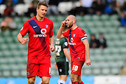 York City's Russell Penn gestures his players to think after scoring a penalty to bring the score back to 3-2 to the home side during the Sky Bet League 2 match between Plymouth Argyle and York City at Home Park, Plymouth, England on 28 March 2016. Photo by Graham Hunt.