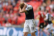Chris Taylor of Millwall can't believe he misses a good chance during the Sky Bet League 1 Play-off Final between Barnsley and Millwall at Wembley Stadium, London<br /> Picture by Richard Blaxall/Focus Images Ltd +44 7853 364624<br /> 29/05/2016