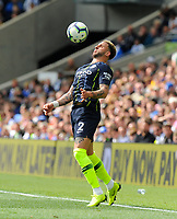 BRIGHTON, ENGLAND - MAY 12:  Kyle Walker (2) of Manchester City controls the ball on his chest during the Premier League match between Brighton & Hove Albion and Manchester City at American Express Community Stadium on May 12, 2019 in Brighton, United Kingdom. (MB Media)