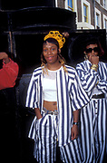 Girls wearing striped outfits, Notting Hill Carnival 1993