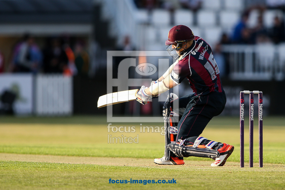 David Willey of Northants Steelbacks drives during the Natwest T20 Blast match at the County Ground, Northampton<br /> Picture by Andy Kearns/Focus Images Ltd 0781 864 4264<br /> 05/06/2015