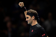 Roger Federer of Switzerland celebrates after winning his match against Novak Djokovic of Serbia  during the Nitto ATP Finals at the O2 Arena, London, United Kingdom on 14 November 2019.