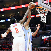 24 February 2016: Denver Nuggets guard Gary Harris (14) is blocked by Los Angeles Clippers forward Jeff Green (8) during the Denver Nuggets 87-81 victory over the Los Angeles Clippers, at the Staples Center, Los Angeles, California, USA.