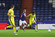 Chris O'Grady and Jacob Maddox during the EFL Sky Bet League 2 match between Oldham Athletic and Cheltenham Town at Boundary Park, Oldham, England on 23 October 2018.