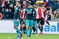 ROTTERDAM - Feyenoord - PSV , Voetbal , Eredivisie , Seizoen 2016/2017 , De Kuip , 26-02-2017 ,  PSV speler Davy Propper (m) en PSV speler Marco van Ginkel (l) balen. Van de 1-0 tegen