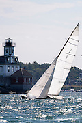 Discovery and Belle sailing in the Newport Classic Yacht Regatta.