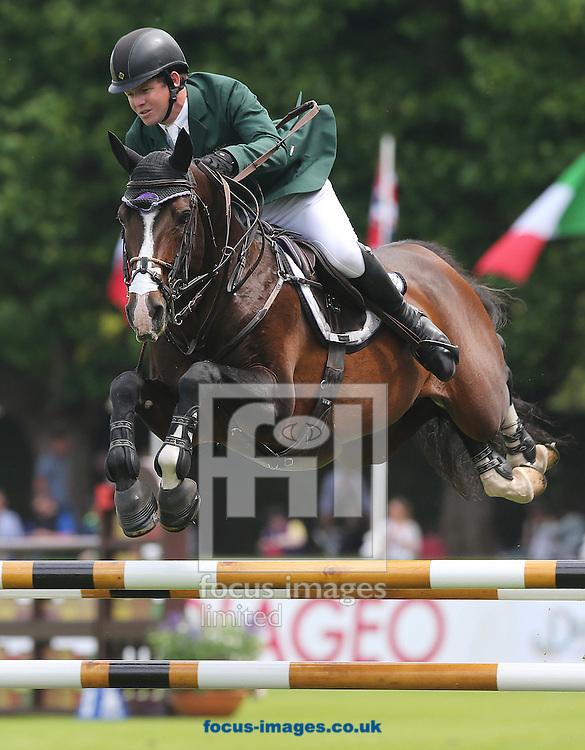 Dublin Horse Show at Royal Dublin Society, Ballsbridge<br /> Ireland's Shane Sweetnam on Cyklon<br /> Picture by Lorraine O'Sullivan/Focus Images Ltd +353 872341584<br /> 21/07/2016
