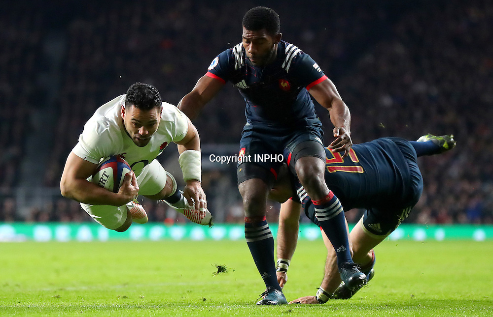RBS 6 Nations Championship Round 1, Twickenham, London, England 4/2/2017<br /> England vs France<br /> England's Ben Te&rsquo;o scores his side's first try<br /> Mandatory Credit &copy;INPHO/James Crombie