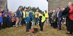 Pupils Noah Heraty and Kyle Smith gave Michael Ring TD, Minister of State for the Department of Tourism and Sport a hand as he 'turned the sod' on friday last for the start of construction at Scoil Padraig on the Newport Rd, Westport. <br /> Pic Conor McKeown<br /> Pic Conor McKeown