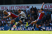 Dele Alli shoots during the Barclays Premier League match between Tottenham Hotspur and Crystal Palace at White Hart Lane, London, England on 20 September 2015. Photo by Alan Franklin.
