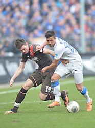 Football: Germany, 2. Bundesliga, 15.02.2014<br />Michael Gregoritsch (FC St. Pauli, #19) vs Danny Latza (VfL Bochum, #18)<br />© pixathlon