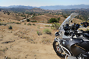 BMW R1200GS Adventure Motorcycle overlooking Mojave desert in California