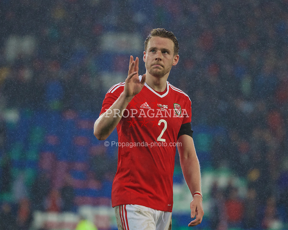 CARDIFF, WALES - Thursday, March 24, 2016: Wales' Chris Gunter after the International Friendly match against Northern Ireland at the Cardiff City Stadium. (Pic by David Rawcliffe/Propaganda)