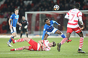 Kgosi Nthle wins the ball during the The FA Cup 3rd round match between Doncaster Rovers and Rochdale at the Keepmoat Stadium, Doncaster, England on 6 January 2018. Photo by Daniel Youngs.
