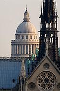 Paris. The Seine river Notre dame cathedral and ile de la cité.   view from The hotel de ville roofs Paris