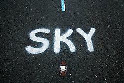 Graffiti supporting team Sky is seen on the road on Buttertubs Pass, part of Stage 1 in the Yorkshire Dales - Photo mandatory by-line: Rogan Thomson/JMP - 07966 386802 - 04/07/2014 - SPORT - CYCLING - Yorkshire - Le Tour de France Grand Depart Previews.