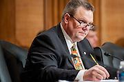 Montana Senator Jon Tester (D) attends an armed services budget hearing on Capitol Hill.