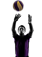 young volley ball player man in silhouette white background