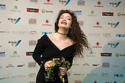 Lorde, winner of the Vodafone Single of the Year, Westpac Hotpoints Breakthrough Artist of the Year, and Vodafone People Choice Award at the Vodafone Music Awards 2013, Vector Arena, Auckland, New Zealand, Thursday, November 21, 2013. Photo: David Rowland/Photosport