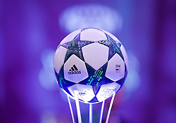 CARDIFF, WALES - Wednesday, August 31, 2016: The official Adidas match ball on display during a gala dinner at the Cardiff Museum to launch the UEFA Champions League Finals 2017 to be held in Cardiff. (Pic by David Rawcliffe/Propaganda)