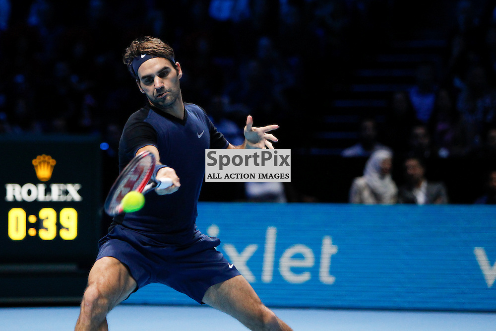 LONDON, ENGLAND - November 17:  Roger Federer in action in a match between Novak Djokovic and Roger Federer at the ATP World Tour Finals 2015 at the O2 Arena, London.   on November 17, 2015 in London, England. (Credit: SAM TODD | SportPix.org.uk)
