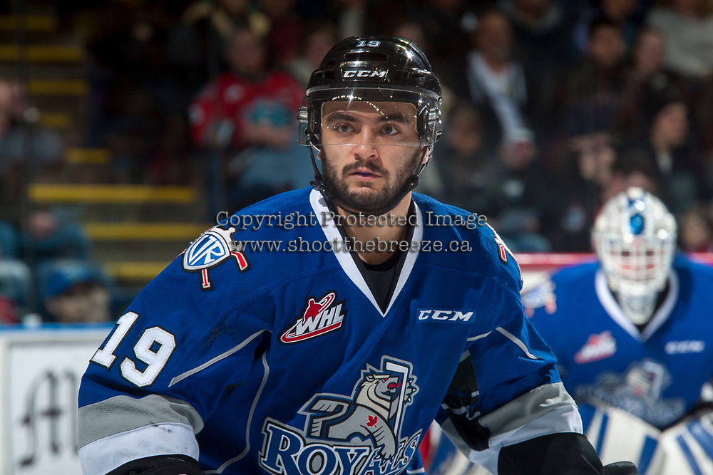 KELOWNA, CANADA - MARCH 7: Dante Hannoun #19 of the Victoria Royals skate against the Kelowna Rockets on March 7, 2017 at Prospera Place in Kelowna, British Columbia, Canada.  (Photo by Marissa Baecker/Shoot the Breeze)  *** Local Caption ***