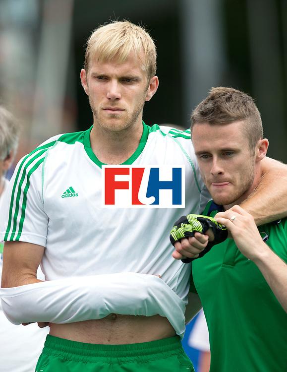 ANTWERP -  Conor Harte of Ireland  leaves injured the pitch   during  the hockeymatch   Belgium vs Ireland .  WSP COPYRIGHT KOEN SUYK