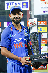 September 3, 2017 - Colombo, Sri Lanka - Indian cricket captain Virat Kohli pose with the winners trophy after winning  and white-washing the ODI series against host Sri Lanka by 5-0 after the 5th and final One Day International cricket match between Sri Lanka and India at the R Premadasa international cricket stadium at Colombo, Sri Lanka on Sunday 3 September 2017. (Credit Image: © Tharaka Basnayaka/NurPhoto via ZUMA Press)