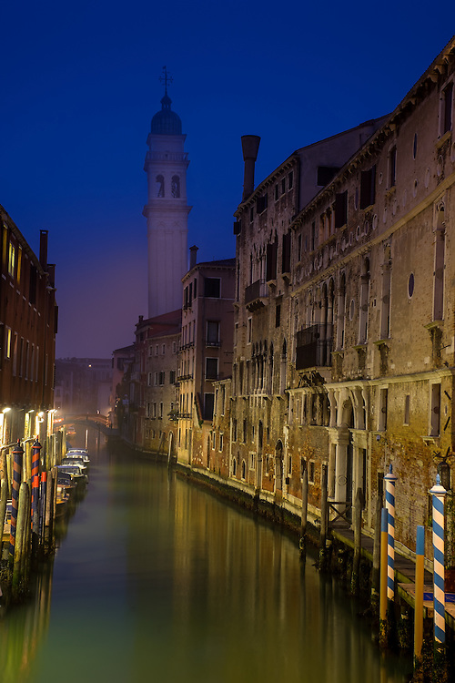 VENICE, ITALY - CIRCA MAY 2015: Typical canal and at dusk in San Marco, Venice