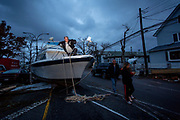 Wally Waldheim woke to find his boat E-Z Goin in the middle of the street after Hurricane Sandy destroyed much of Broad Channel, halfway between Howard Beach and Rockaway.