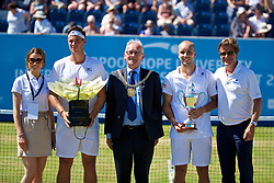 LIVERPOOL, ENGLAND - Sunday, June 18, 2017: Runner-up Marcus Willis (GBR), Lord Mayor of Liverpool is Councillor Malcolm Kennedy, winner Steve Darcis (BEL) with the trophy and Tournament Director Anders Borg after winning the Men's Final on Day Four of the Liverpool Hope University International Tennis Tournament 2017 at the Liverpool Cricket Club. (Pic by David Rawcliffe/Propaganda)