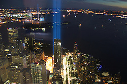 September 12, 2016 - New York, New York, USA - Tribute lights are seen from the One Trade Center on 15th anniversary of tragedy 9/11 in New York. (Credit Image: © Anna Sergeeva via ZUMA Wire)
