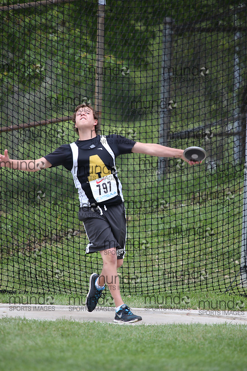 Zach Riddell of General Amherst HS Amherstburg competes in the midget boys discus at the 2013 OFSAA Track and Field Championship in Oshawa Ontario, Thursday,  June 6, 2013.<br /> Mundo Sport Images / Sean Burges