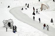 TREVOR HAGAN -  The river trail was a buzz of activity near the new warm up huts. As seen from the Donald Street Bridge. <br /> February 6, 2010