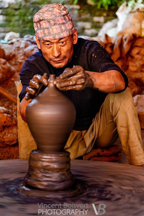 a potters man at work in Bhaktapur, Nepal