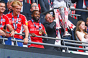Lee Bowyer of Charlton Athletic (Manager) lifts the play off trophy during the EFL Sky Bet League 1 play off final match between Charlton Athletic and Sunderland at Wembley Stadium, London, England on 26 May 2019.