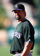 ANAHEIM, CA - JUNE 24:  Todd Helton #17 of the Colorado Rockies looks on during batting practice before the game against the Los Angeles Angels of Anaheim at Angel Stadium on Wednesday, June 24, 2009 in Anaheim, California.  The Angels defeated the Rockies 11-3.  ©Paul Anthony Spinelli*** Local Caption *** Todd Helton