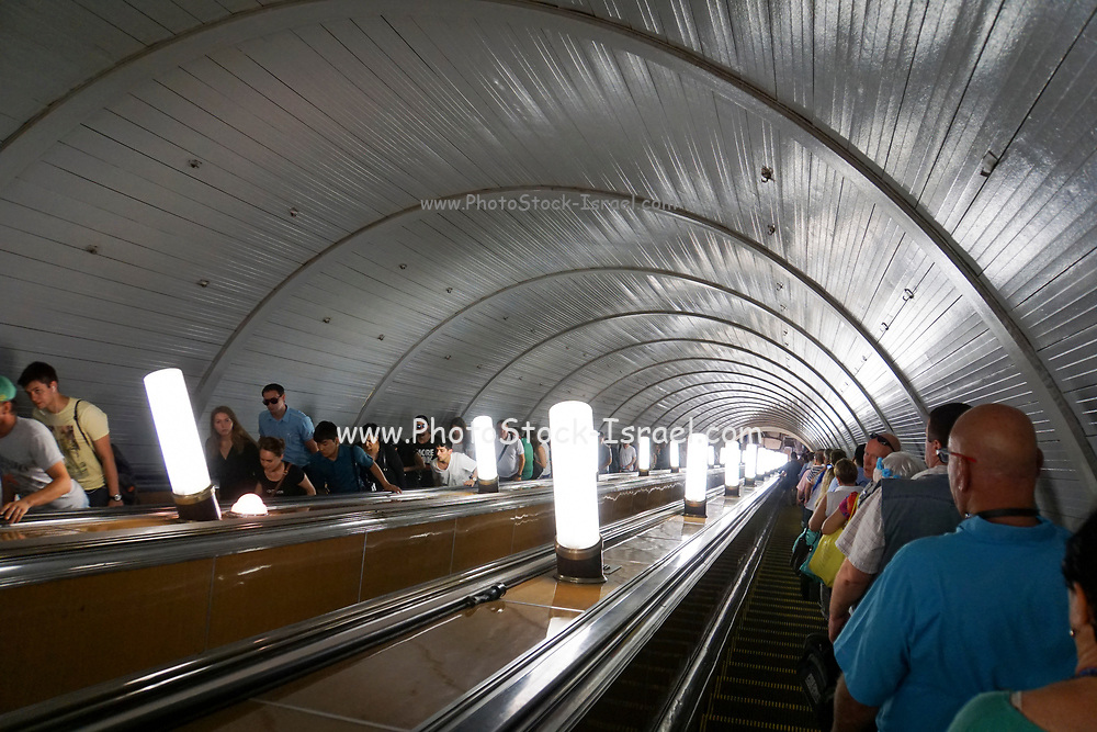 Escalators at Kiyevskaya metro station, Moscow, Russia