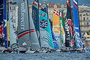Jockeying for position before a start.  Day four of the Extreme Sailing Series Regatta at Nice. 5/10/2014