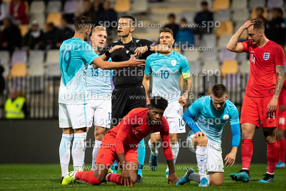 Players of Slovenia complaining to the reffereeduring friendly Football match between U21 national teams of Slovenia and England, on October 11, 2019 in Ljudski Vrt, Maribor, Slovenia. Photo by Blaž Weindorfer / Sportida