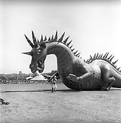 An inflated giant dragon at Glastonbury, 1989.