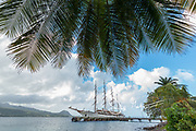The tall sailing ship, known as the Sea Cloud docked at the island of Dominica.