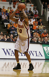 Adrian Joseph (30) shoots one of his 4 three pointers against Wake Forest.  Joseph had 14 points and 8 rebounds to help the Hoos to a 75-73 ACC victory.