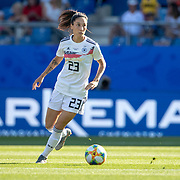 MONTPELLIER, FRANCE June 17. Sara Doorsoun #23 of Germany in action during the Germany V South Africa, Group B match at the FIFA Women's World Cup at Stade De La Mosson Stadium on June 17th 2019 in Montpellier, France. (Photo by Tim Clayton/Corbis via Getty Images)