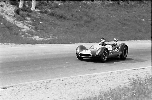 "Bruce McLaren wins 1964 Players 200 at Mosport in the Cooper-Oldsmobile that Bruce and his team called the Jolly Green Giant; originally a crashed F1 Cooper, it was turned by Roger Penske in to his infamous center-seat Zerex Spl. ""sports car"" before McLaren rebuilt it to create his first McLaren; Pete Lyons photo"
