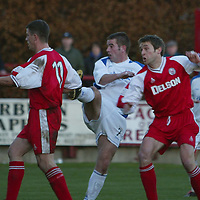 Brechin v St Johnstone...16.11.03<br />Jamie Smith can't stop Peter MacDonald from scoring St Johnstone's first goal<br /><br />Picture by Graeme Hart.<br />Copyright Perthshire Picture Agency<br />Tel: 01738 623350  Mobile: 07990 594431