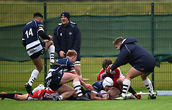 Bristol players celebrate Iwan Hughes try - Mandatory by-line: Paul Knight/JMP - 11/02/2017 - RUGBY - SGS Wise Campus - Bristol, England - Bristol Academy v Gloucester Academy - Premiership Rugby Academy U18 League